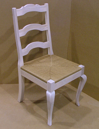 Country French Chair with Curved Ladder Back