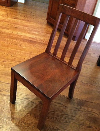 Slat Back Chair with Scooped Wood Seat