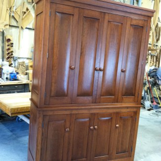 Charmant Entertainment Armoire This Cabinet Was Built To House A 55 Inch TV And  Features Bi Fold Pocket Doors Which Keeps The Depth Of The Cabinet At 18  Inches.