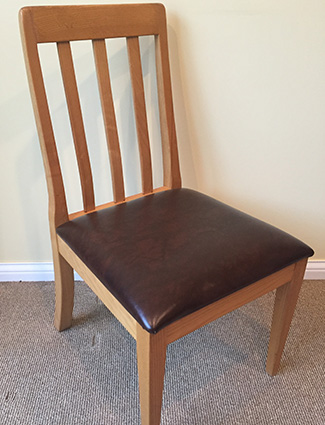 Contemporary Slat Back Chair with Leather Seat